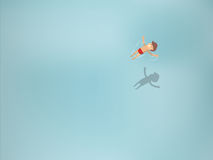 Beautiful graphic design of man floating in transparent sea Royalty Free Stock Photography