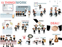 Beautiful graphic design set of business work situation Stock Image
