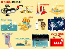 Beautiful graphic design 12 things of Dubai United Arab Emirates Stock Photography