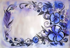 Beautiful graphic drawing of flowers Royalty Free Stock Image