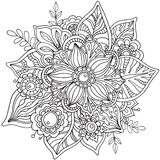 Beautiful graphic  flower in doodle style. Stock Photos