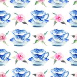 Beautiful graphic lovely artistic tender wonderful blue porcelain china tea cups with lovely pink roses flowers pattern. Watercolor hand illustration Royalty Free Stock Photo