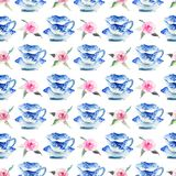 Beautiful graphic lovely artistic tender wonderful blue porcelain china tea cups with lovely pink roses flowers pattern. Watercolor hand illustration Stock Photos