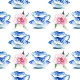 Beautiful graphic lovely artistic tender wonderful blue porcelain china tea cups with lovely pink roses flowers pattern watercolor. Hand illustration Royalty Free Stock Photography
