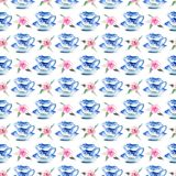 Beautiful graphic lovely artistic tender wonderful blue porcelain china tea cups with lovely pink roses flowers pattern watercolor. Hand illustration. Perfect Stock Photos