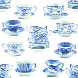 Beautiful graphic lovely artistic tender wonderful blue porcelain china tea cups pattern watercolor hand illustration. Perfect for textile, menu, wallpapers stock illustration