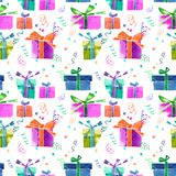 Beautiful graphic lovely wonderful holiday new year bright winte. R colorful gifts with bows, serpentine, confetti pattern watercolor hand illustration. Perfect Royalty Free Stock Photography