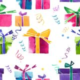 Beautiful graphic lovely wonderful holiday new year bright winte. R colorful gifts with bows, serpentine, confetti pattern watercolor hand illustration. Perfect Stock Photo