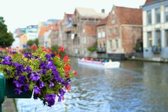 Beautiful Graslei along the river in Belgian medieval city of Ghent Stock Photography