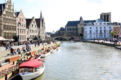 Beautiful Graslei along the river in Belgian medieval city of Ghent Stock Photo