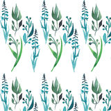 Beautiful grass with green leaves seamless pattern watercolor hand sketch Stock Images