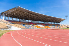 Beautiful grass soccer stadium for use in football match and athletics Royalty Free Stock Images