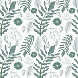 Beautiful gray floral pattern background. Vector illustration Royalty Free Stock Photos