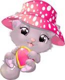 Beautiful gray kitten with heart Stock Image