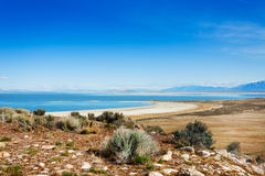 Beautiful Great Salt Lake from Antelope Island. Panoramic view of beautiful Great Salt Lake at Antelope Island State Park, Utah, USA Royalty Free Stock Photos