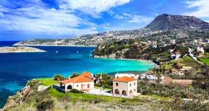 Beautiful Greece landscapes - Crete island, pictorial Almyrida Royalty Free Stock Image