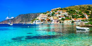 Beautiful Greece series - picturesque colorful village Assos in stock photography