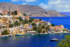 Beautiful Greece - view of colorful Symi island, Dodecanesse Royalty Free Stock Photography