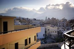 Beautiful greece, wonderful island. Greek mountains and city on a wonderful island stock image
