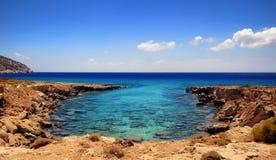 Beautiful greece, wonderful island and sea. Beautiful bay on the wonderful island Stock Photos