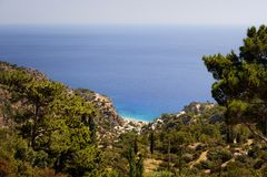 Beautiful greece, wonderful island and sea. Greek mountains on a wonderful island and sea royalty free stock photos