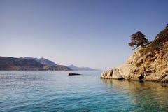Beautiful greece, wonderful island and sea. Greek mountains on a wonderful island and sea stock photo