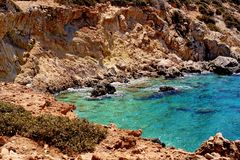 Beautiful greece, wonderful island and sea. Greek mountains on a wonderful island and sea, bay royalty free stock image