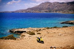 Beautiful greece, wonderful island and sea. Greek mountains and sea on a wonderful island, bike stock photo