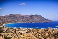 Beautiful greece, wonderful island and sea. Greek mountains and city on a wonderful island and sea Royalty Free Stock Image