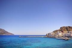 Beautiful greece, wonderful island and sea. Greek mountains and city on a wonderful island and sea stock photos