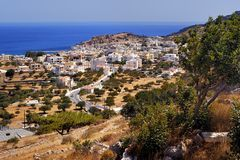 Beautiful greece, wonderful island and sea. Greek mountains and city on a wonderful island and sea, landscapes Stock Photography
