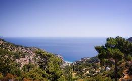 Beautiful greece, wonderful island and sea. Mountains, trees and sea on wonderful island stock image