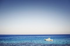 Beautiful greece, wonderful island and sea. One boat and beautiful sea Royalty Free Stock Photos