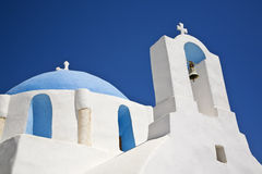Beautiful Greek Church. A blue domed greek church on the island of Ios, Cyclades, Greece Royalty Free Stock Photography