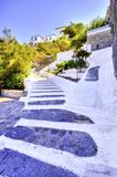 Beautiful Greek island, Hydra. Stairs leading to a house at the beautiful Greek Island, Hydra in the Aegean sea Royalty Free Stock Photos