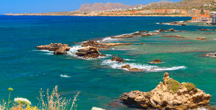 Beautiful greek island with pure blue water. Chania Royalty Free Stock Images