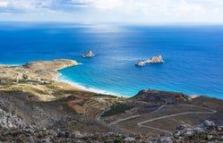 Beautiful greek seascape. East Crete. Xerokampos beaches. Beautiful greek seascape at east Crete. Xerokampos beaches royalty free stock photography