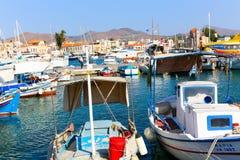 Beautiful Greek yachts stock image