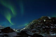 Beautiful green aurora Stock Image