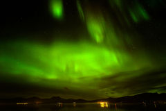 Aurora borealis or northern lights in the sky at Tromso, Norway. A beautiful green Aurora borealis or northern lights in the sky at Tromso, Norway royalty free stock images