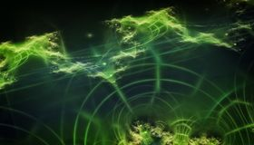 Beautiful green background of glowing particles and lines with depth of field and bokeh. 3d illustration, 3d render Stock Image