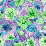 Beautiful green begonia flowers with leaves on purple background. Seamless floral pattern. Watercolor painting. Hand painted botanical illustration. Wallpaper Stock Illustration