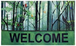 Beautiful green, black and multicolor Outdoor Door mat with trees, birds and Welcome text stock photo