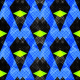 Beautiful green and blue polygons on dark background seamless pattern vector illustration Royalty Free Stock Photo