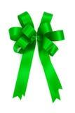Beautiful green bow from satin ribbon Royalty Free Stock Images