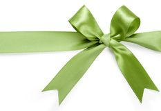 Beautiful green bow on white background. Isolate Royalty Free Stock Photography