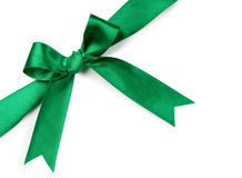 Beautiful green bow on white background Stock Photos