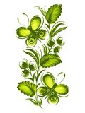 Beautiful green butterfly. Hand drawn, , illustration in Ukrainian folk style Stock Images