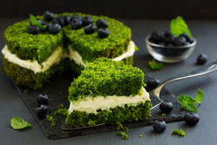 Beautiful green cake with spinach Royalty Free Stock Images