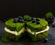 Beautiful green cake with spinach Royalty Free Stock Photos